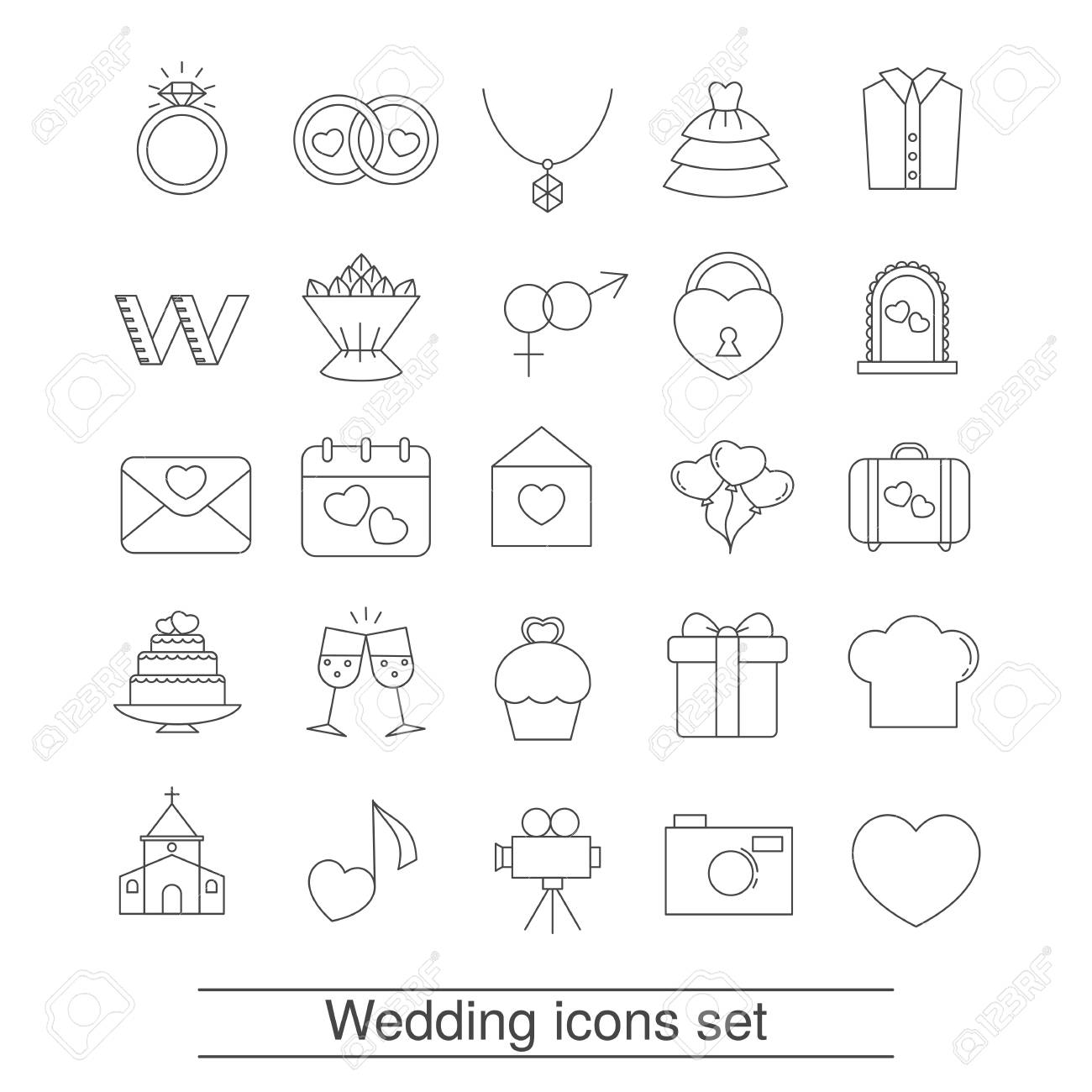 Set of outline wedding icon can be used in wedding invitation set of outline wedding icon can be used in wedding invitation design cards stopboris Image collections