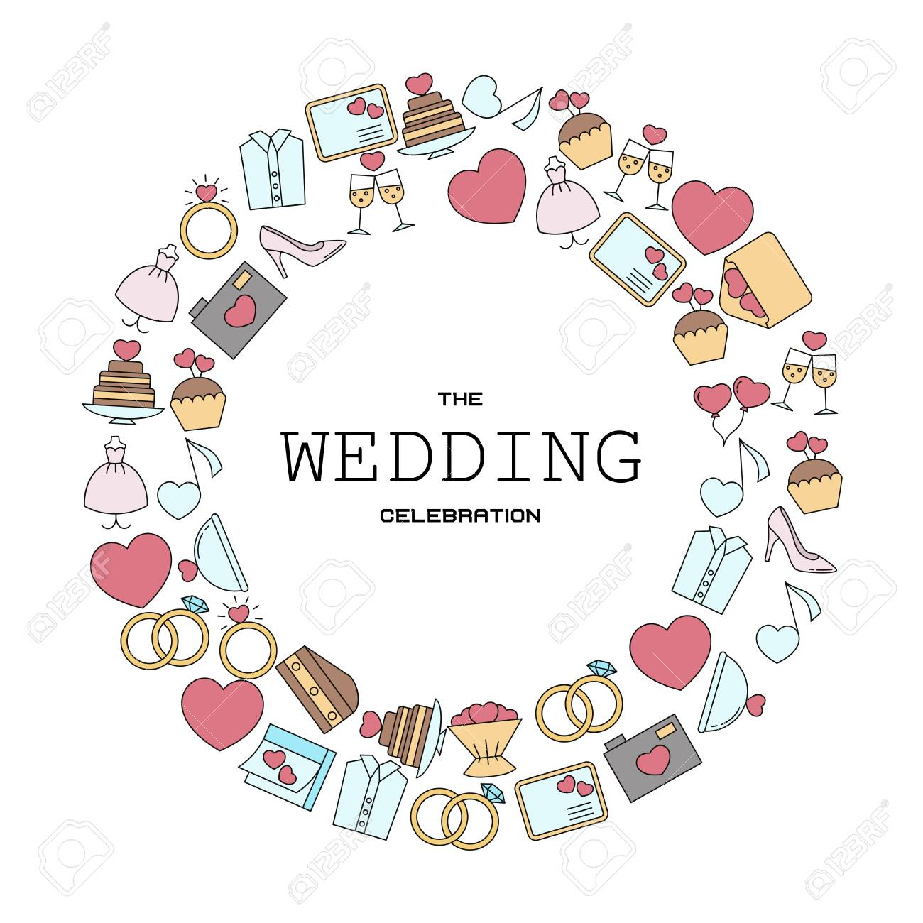 Wedding vector background with wedding icons in thin line style vector wedding vector background with wedding icons in thin line style can be used in wedding invitation design cards websites and etc stopboris Images