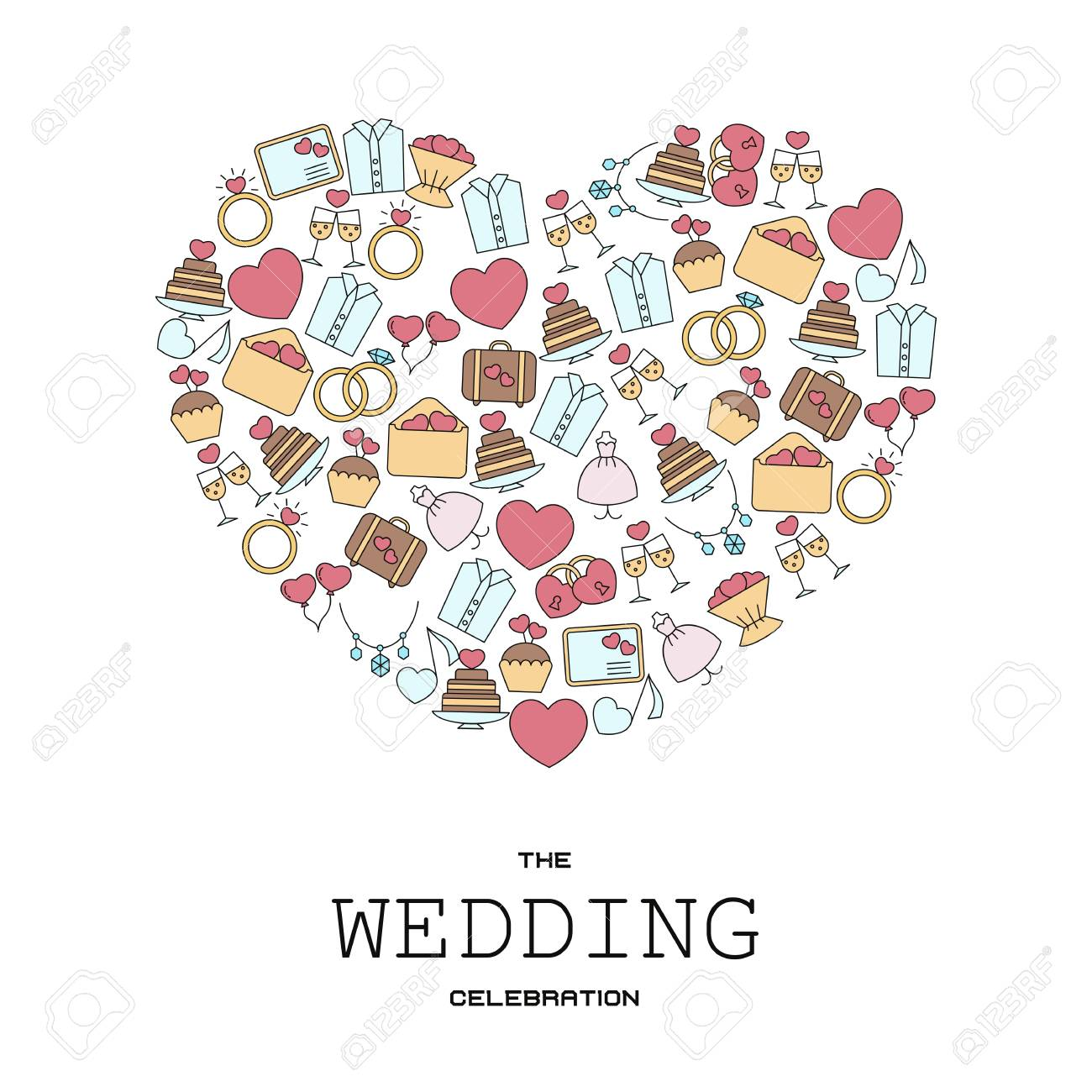 Wedding vector background with wedding icons in thin line style can imagens wedding vector background with wedding icons in thin line style can be used in wedding invitation design cards websites and etc stopboris Images