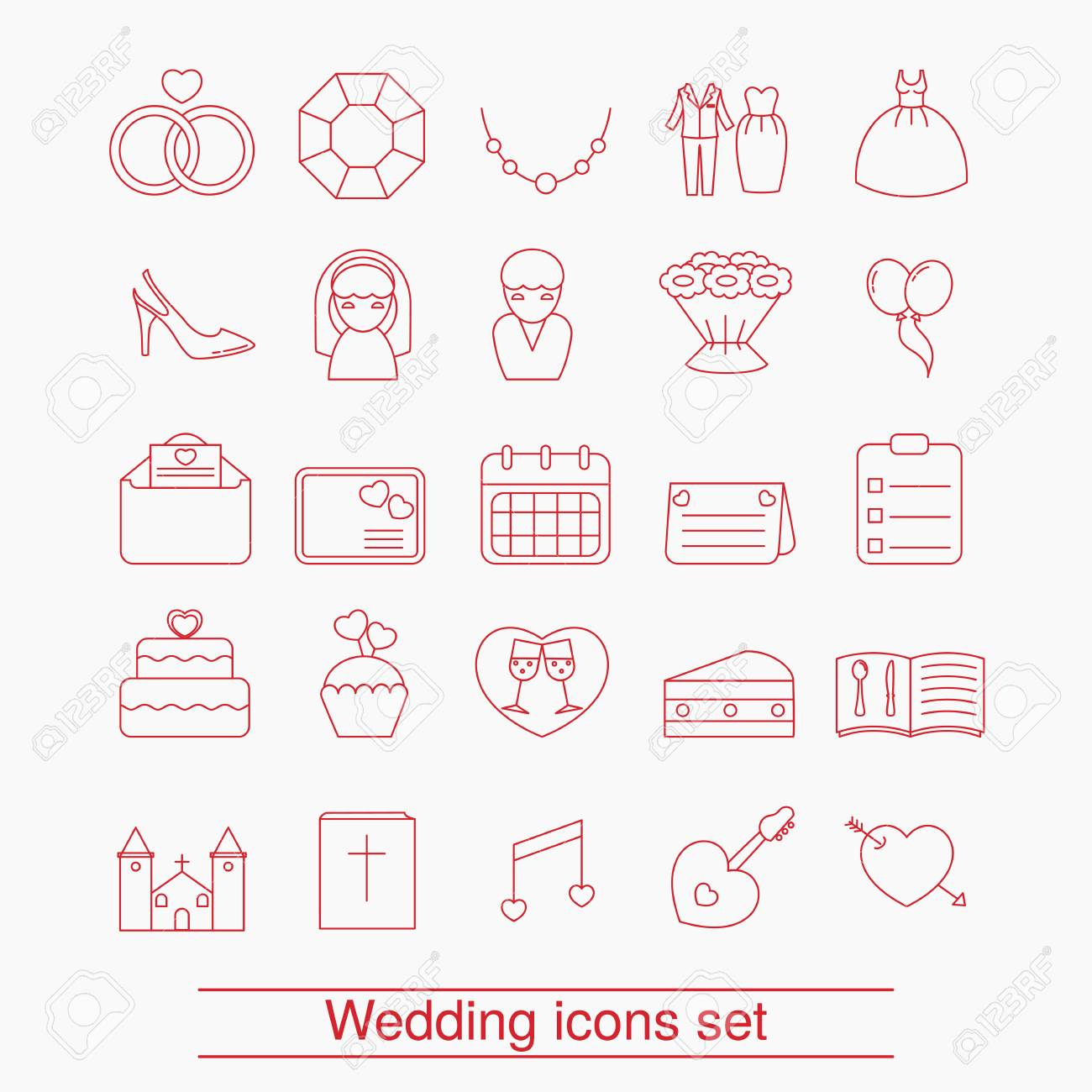 Set of outline wedding icon can be used in wedding invitation set of outline wedding icon can be used in wedding invitation design cards stopboris Gallery