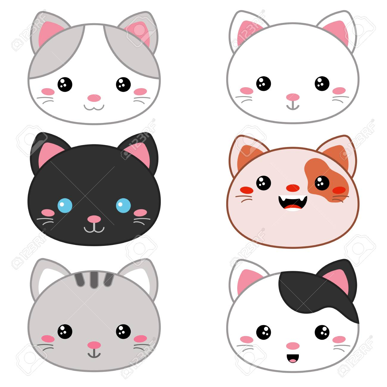 Set Of Cartoon Cute Cat Faces On White Background Royalty Free