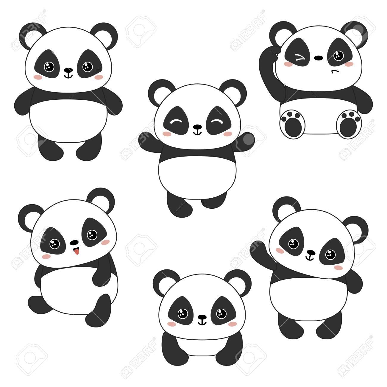 Ensemble De Dessin Animé Mignon Ours Chinois Panda