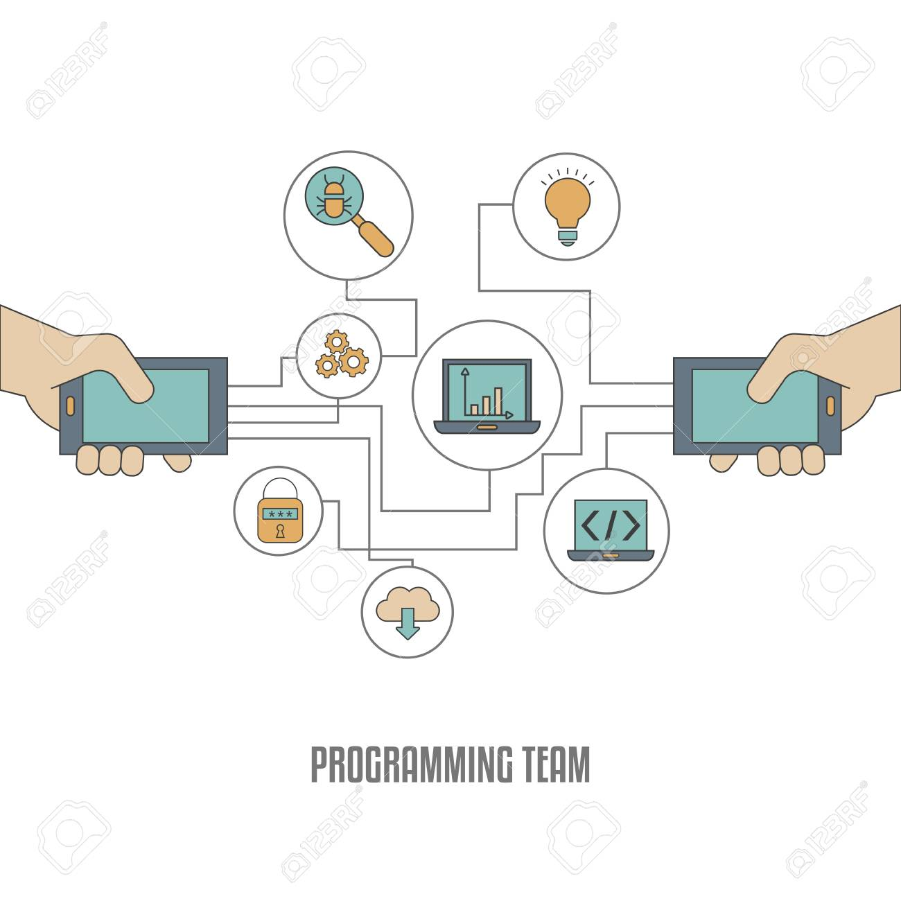 App development concept  Software development and computer technology