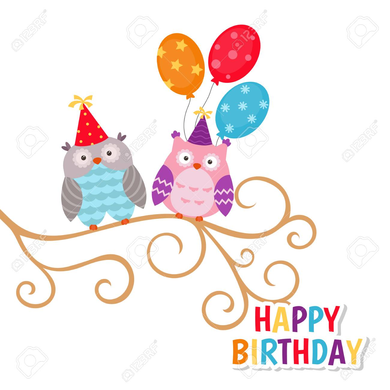 Happy Birthday Greeting Card Template With Owls And Balloons Royalty