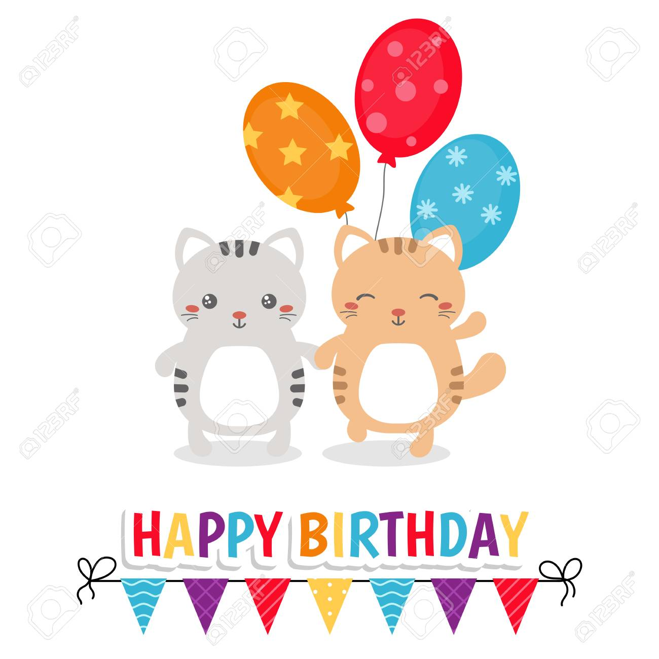 Happy Birthday Greeting Card With Cats And Balloons Stock Vector