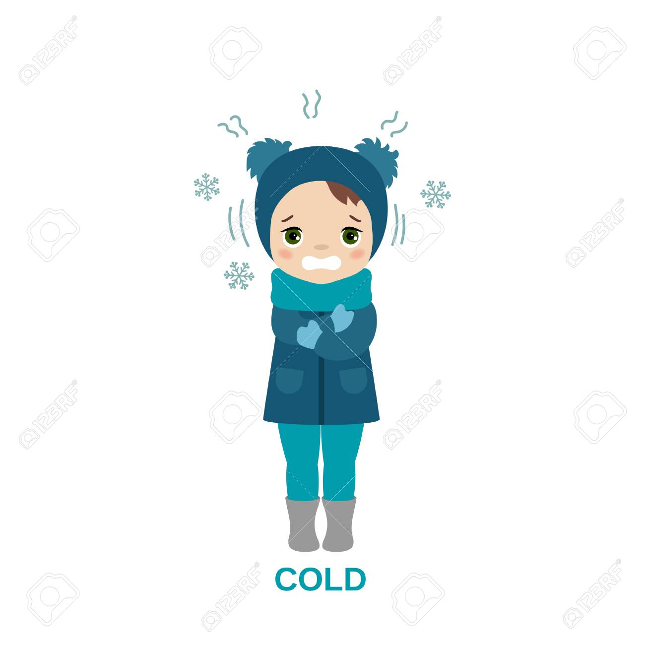 freezing and shivering young girl on winter cold cartoon style