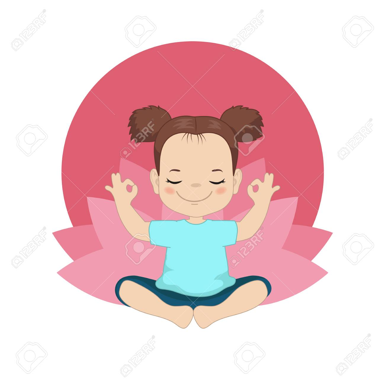 Kids yoga design concept with girl in yoga position