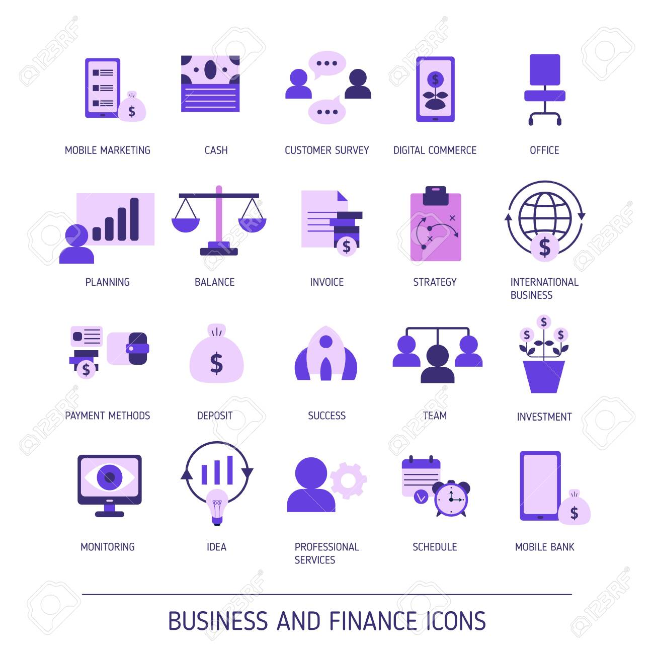 Set of business and finance web icons. Vector illustration. - 133760023
