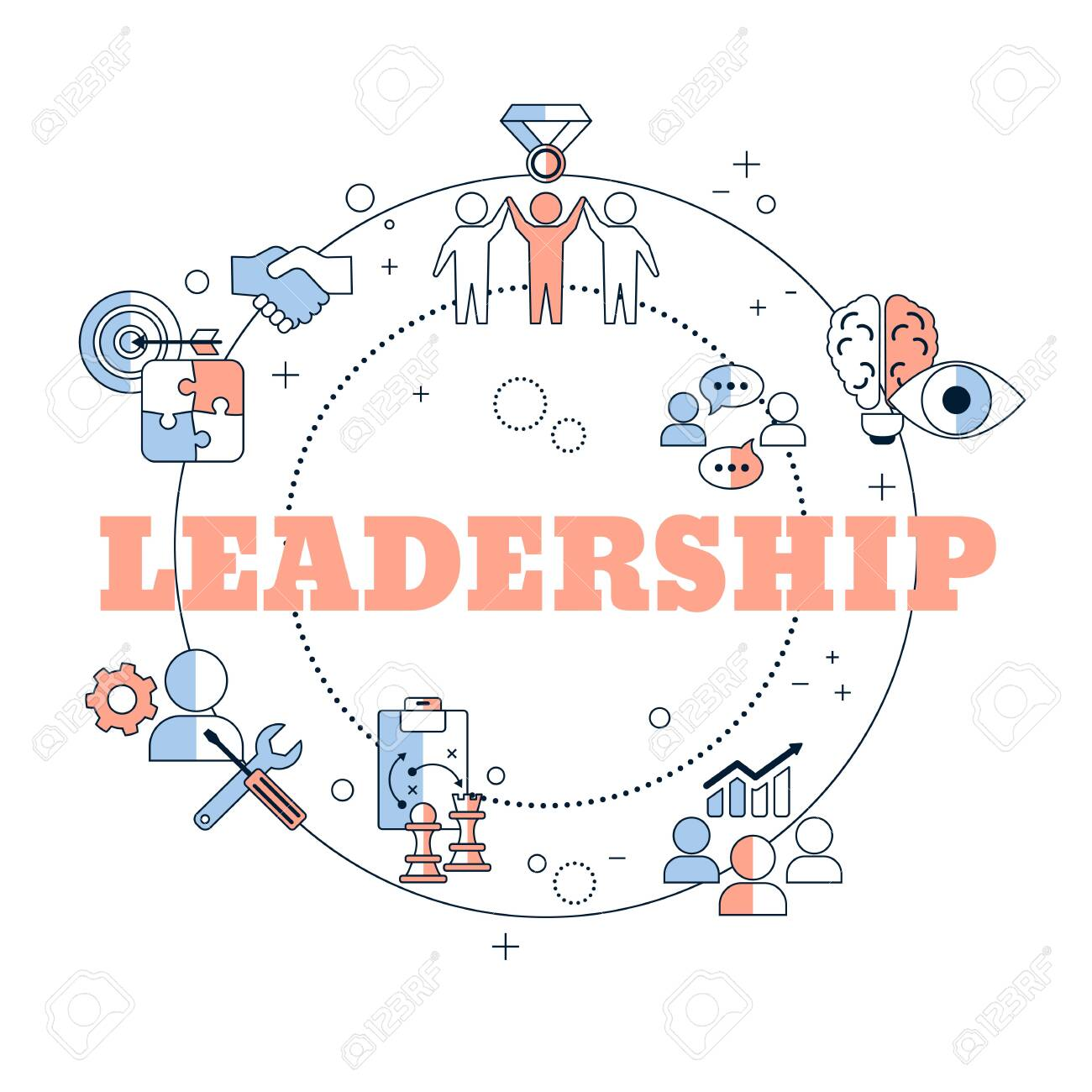 Leadership Banner Concept With Icons Vector Illustration Royalty Free Cliparts Vectors And Stock Illustration Image 133827956