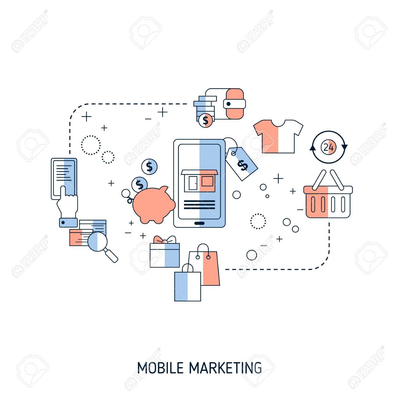 Mobile marketing concept. Vector illustration for website, app, banner, etc. - 146164748