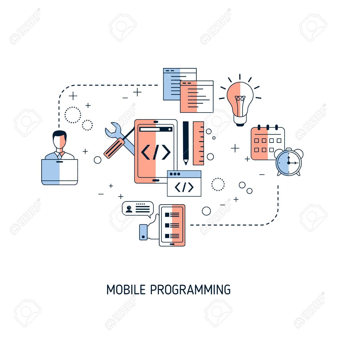 Mobile programming concept. Vector illustration for website, app, banner, etc. - 146287328