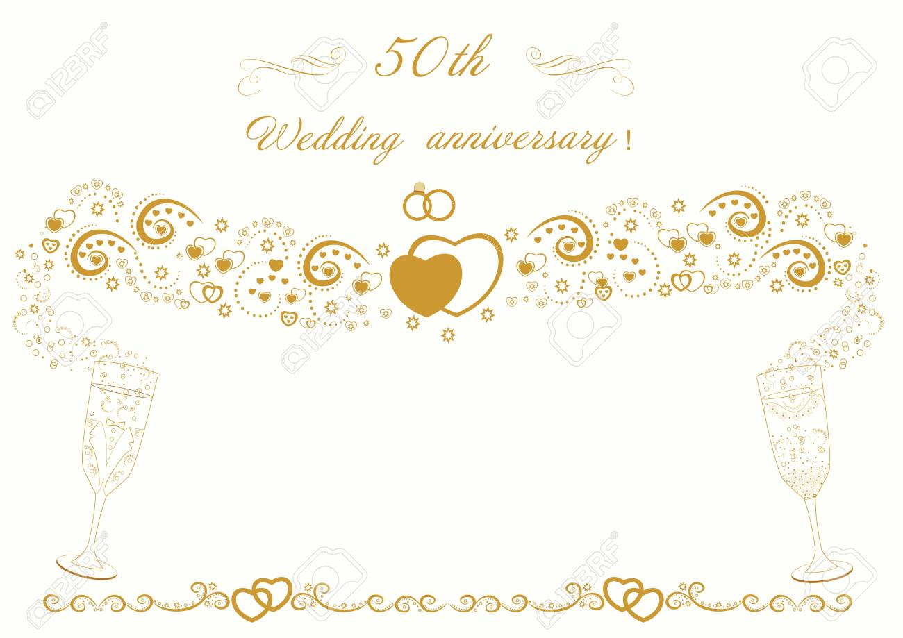 50th Wedding Anniversary Invitation Beautiful Vintage Card Vector