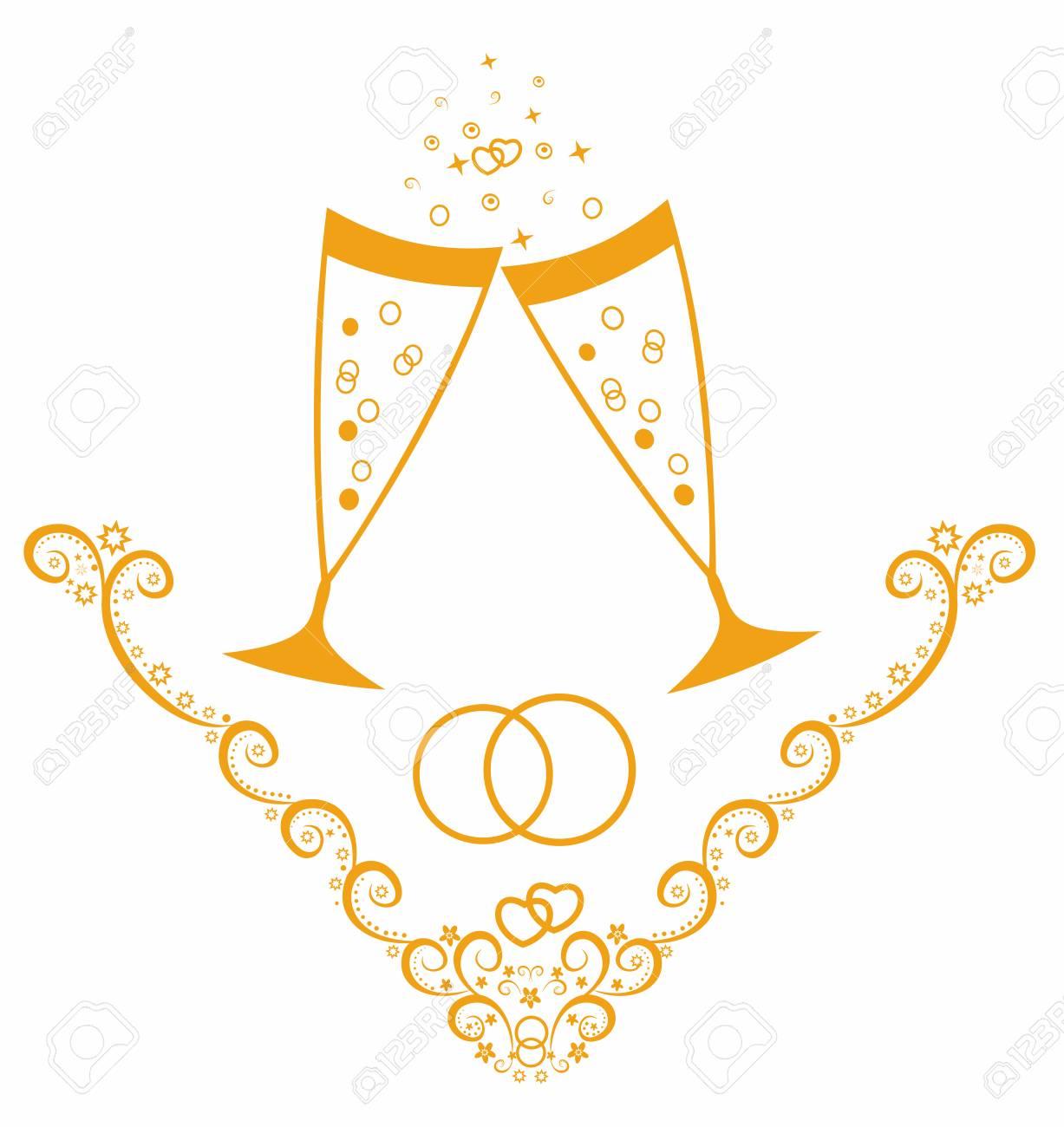美しいベクター イラストですシャンパンとの結婚式の日のお祝い の