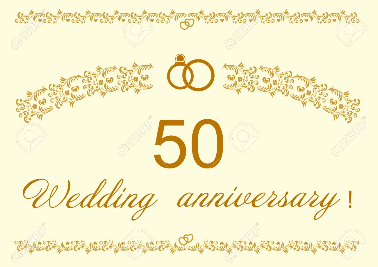 50th Wedding Anniversary Invitation Card Design Stock Vector