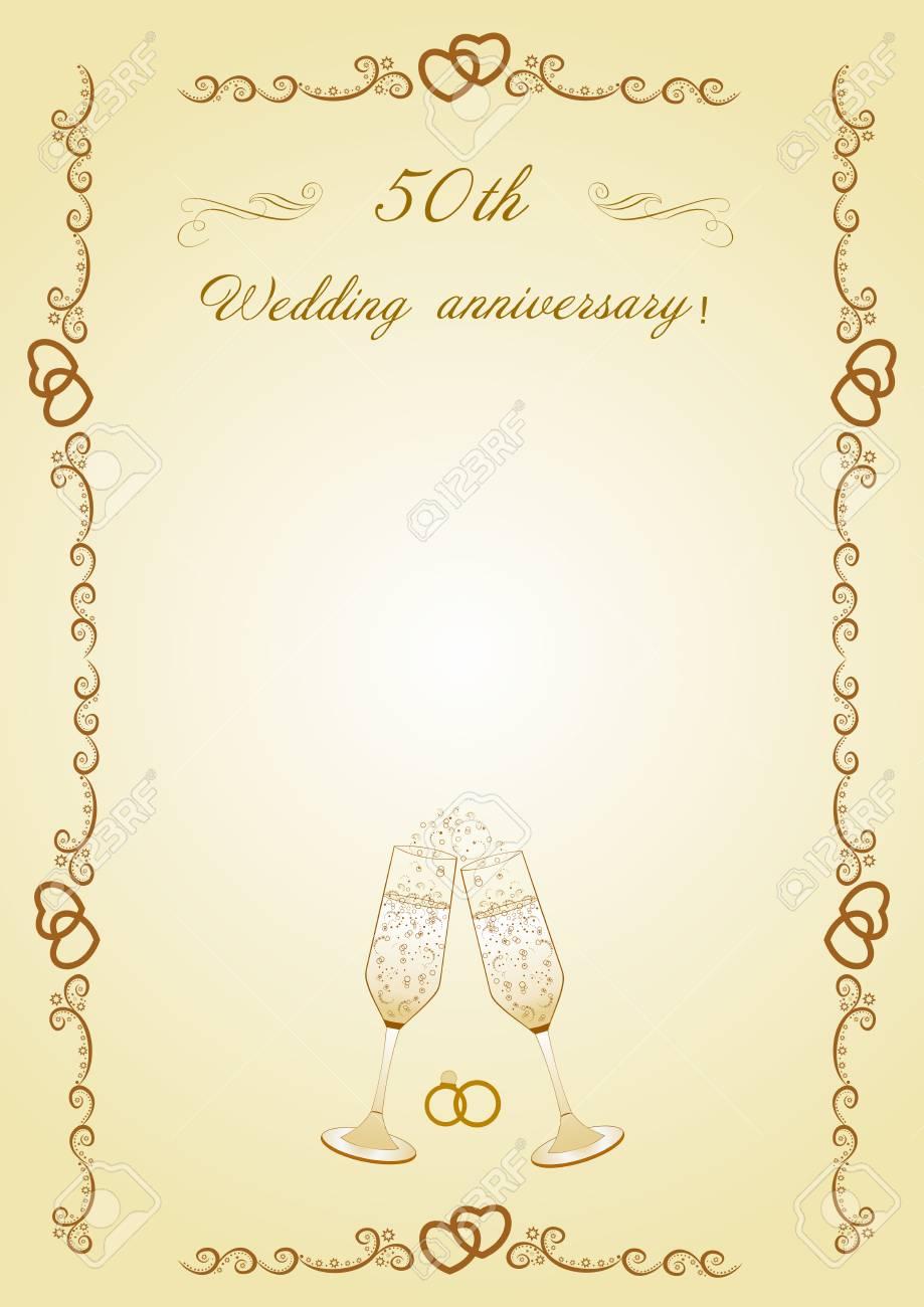 Vettoriale Congratulazioni Per Il 50 Anniversario Del Matrimonio