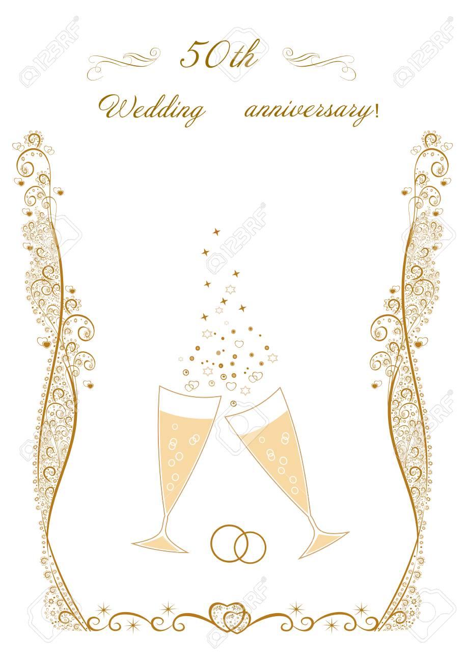 50th Wedding Anniversary Invitation.Beautiful Editable Vector ...