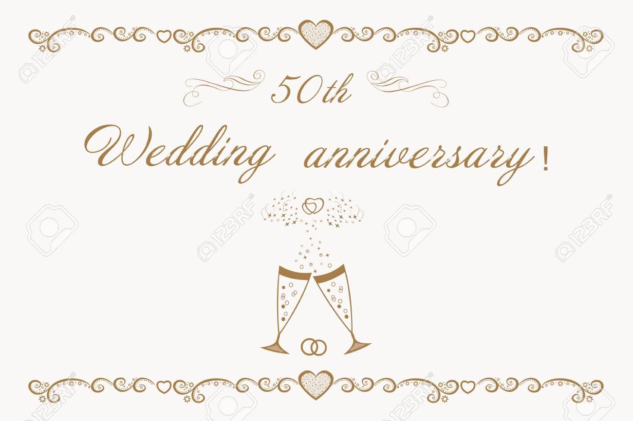 Beautiful Anniversary Invitation Golden Wedding. 50th Wedding ...