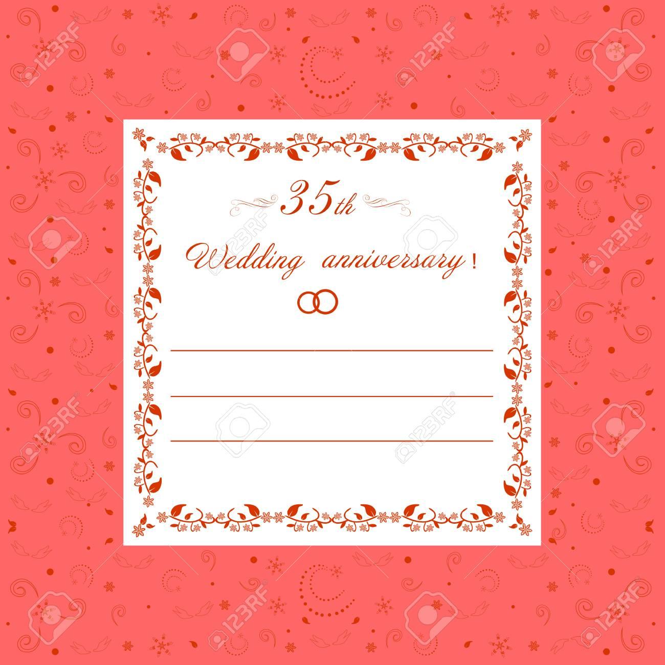 35th wedding anniversary invitationral wedding romance editable 35th wedding anniversary invitationral wedding romance editable vector illustration stock vector 92043949 stopboris Image collections