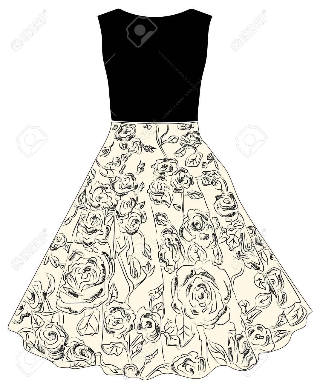 Moda Para Mujer Suéter Negro Y Falda Con Un Patrón De Rosas ...