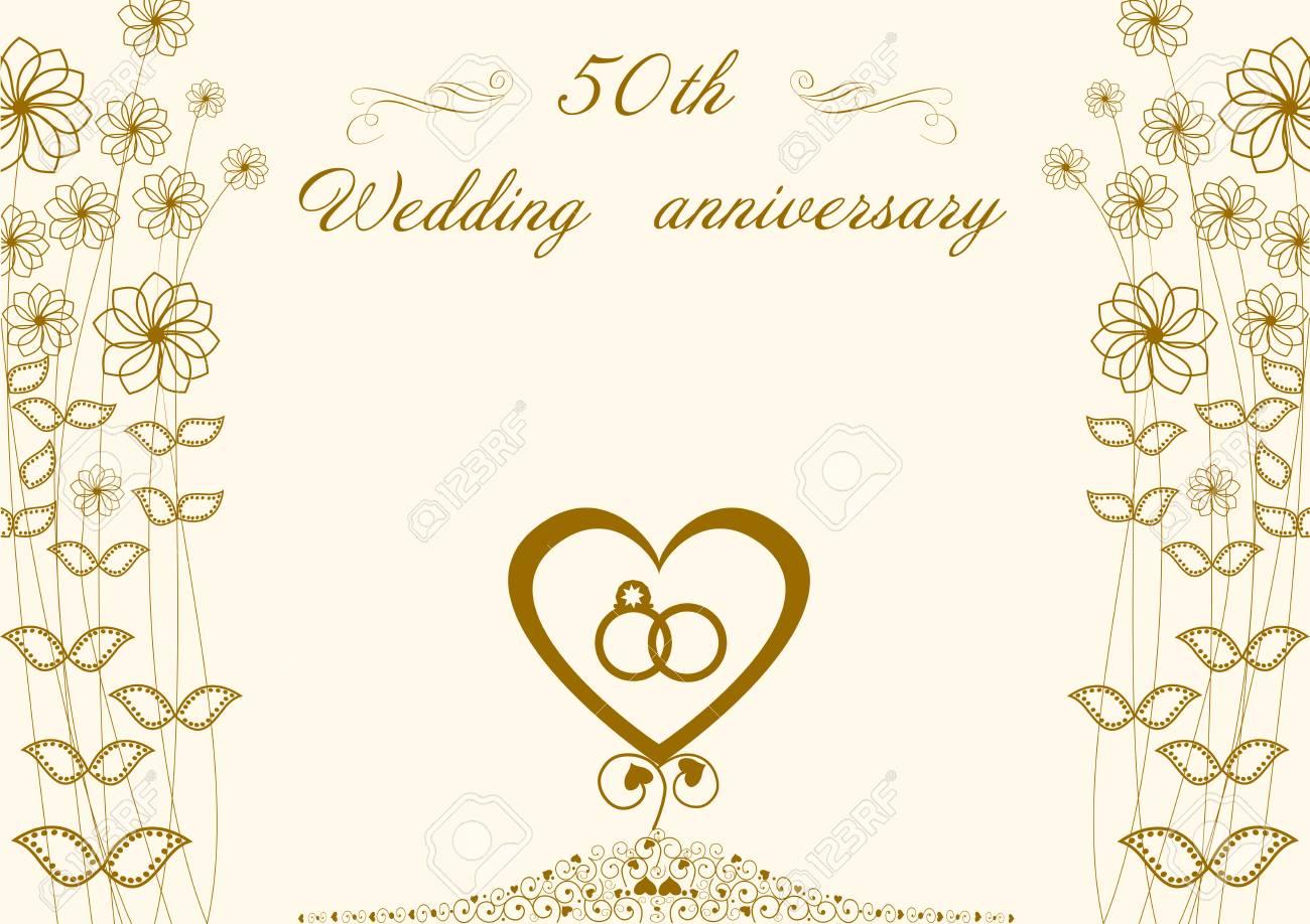 Félicitations à Lanniversaire De Mariage Dor 50 Coeur Et Bagues Fleurs Abstraites