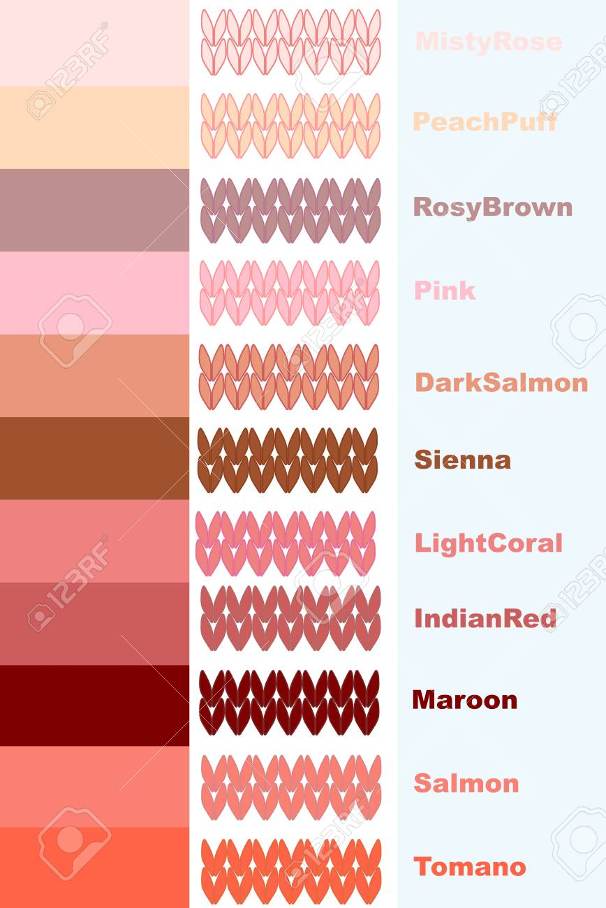 Samples Of Knitted Yarns Pink Coral Palette Colors With Names Stock Vector