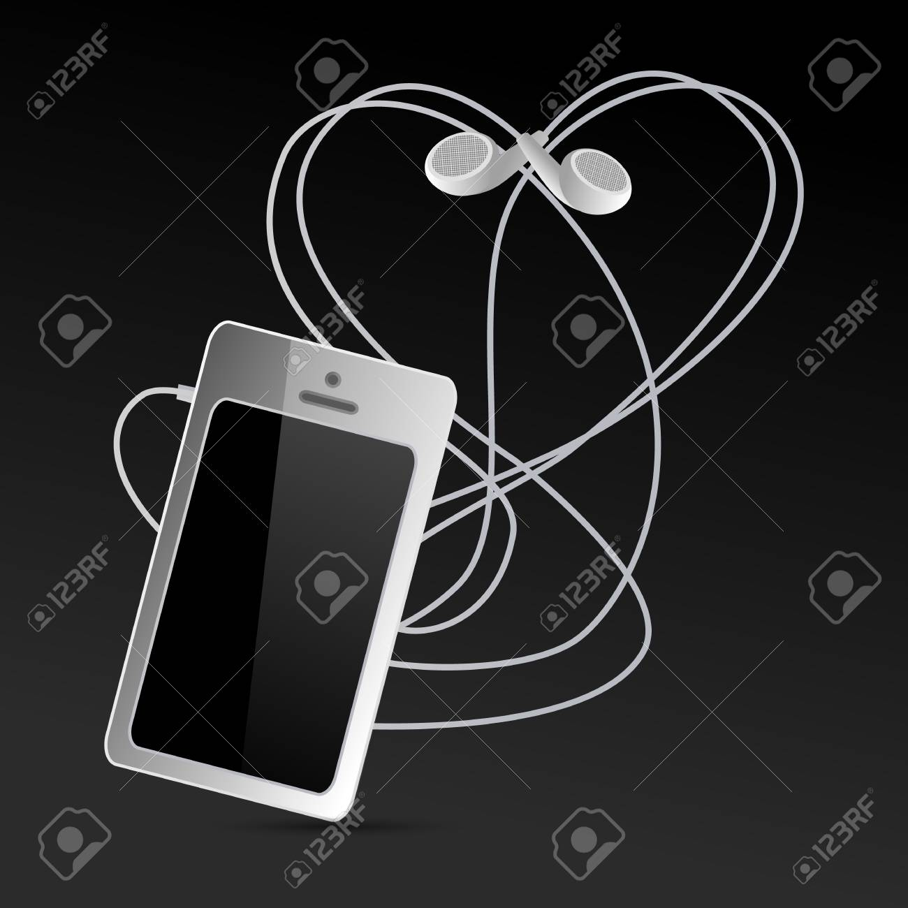 Smartphone And Headphones On A Dark Background Mobile Phone With A