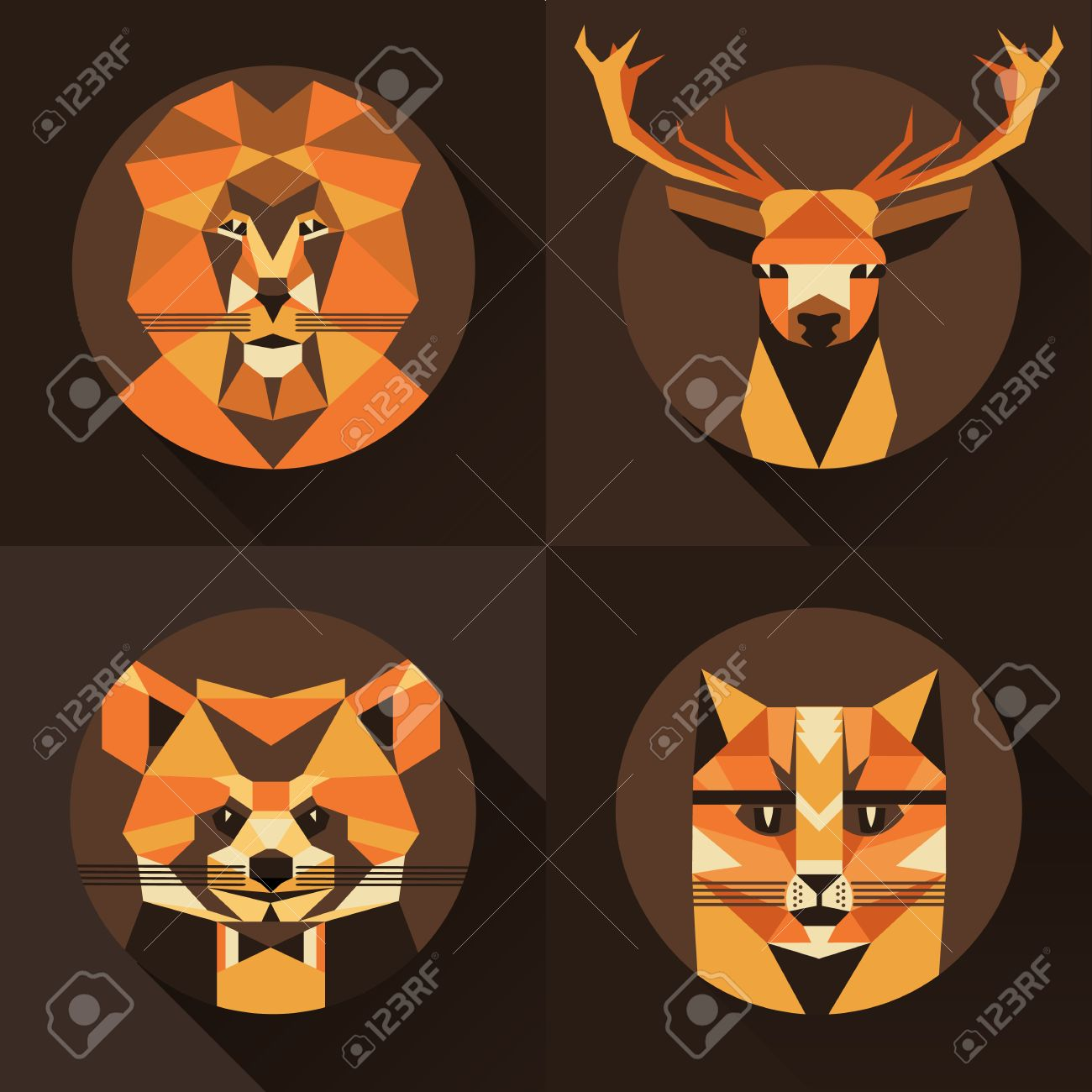 Flat trendy low polygon style animal avatar icon set. Vector illustration. Cat,fox, deer,lion, raccoon Banque d'images - 50432062