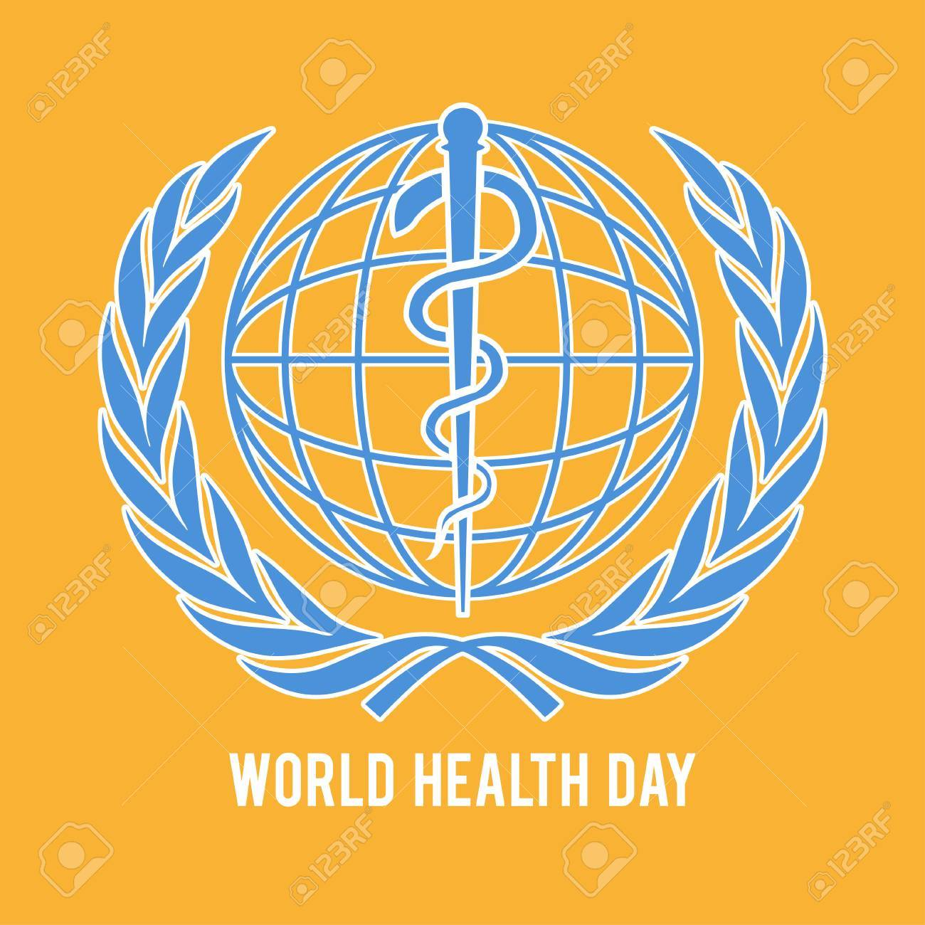 World Health Day Symbol Globe And The Staff Of Asclepius Royalty