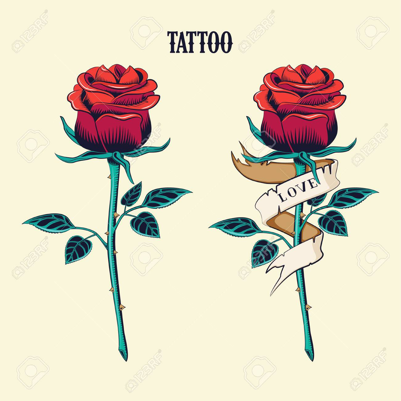 Tattoo Set Isolated Tattoo Roses Old School Tattooing Style
