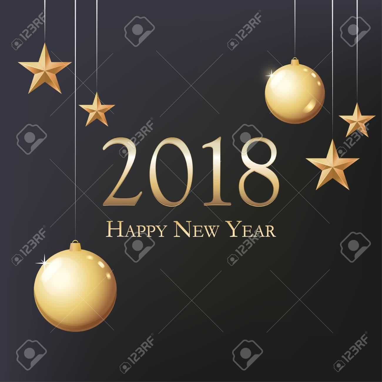 Neujahrskarte Mit Begrüßung - Frohes Neues Jahr. Illustration Mit ...