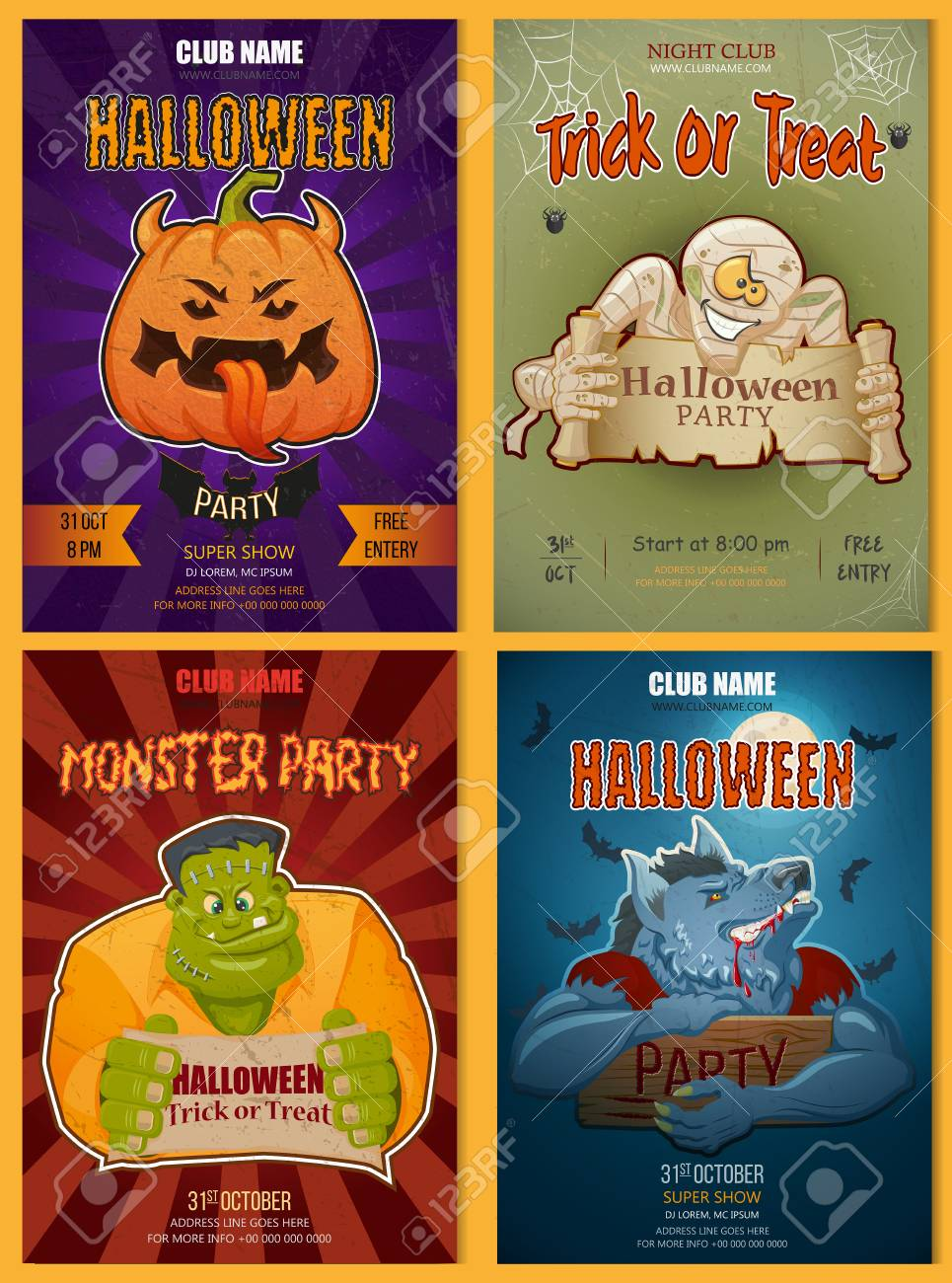Set Of Halloween Party Poster Invitation Or Flyer Templates