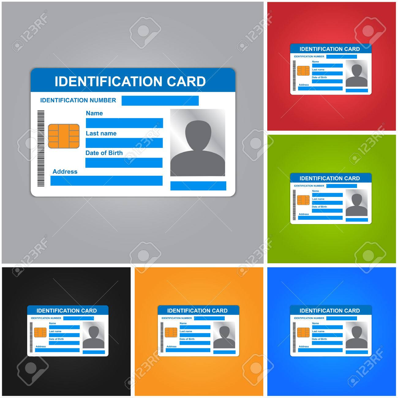 Identification Card Isolated on Color Background. ID Card Icons Set. - 42429132