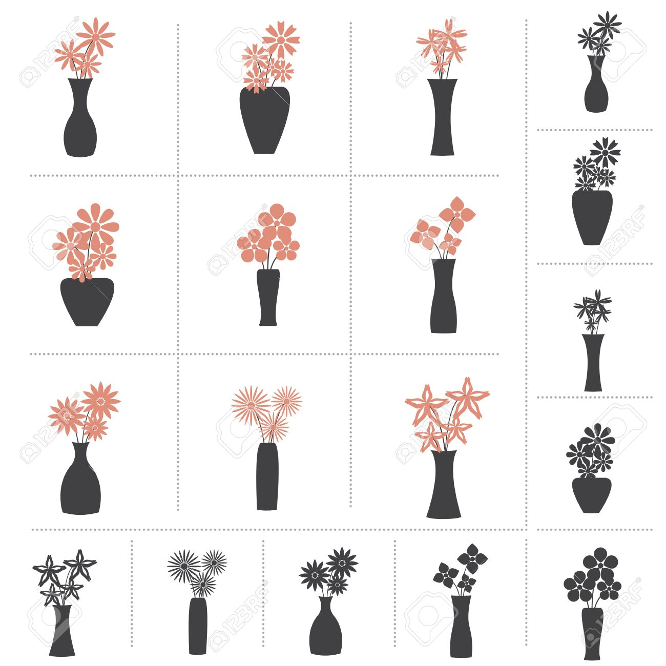 Set Of Flowers In Vase Collection 9 Different Kinds Of Flower Royalty Free Cliparts Vectors And Stock Illustration Image 43203964