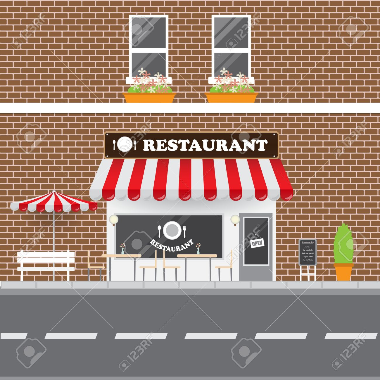 Restaurant Facade With Street Landscape Brick Building Retro Style Banque Dimages