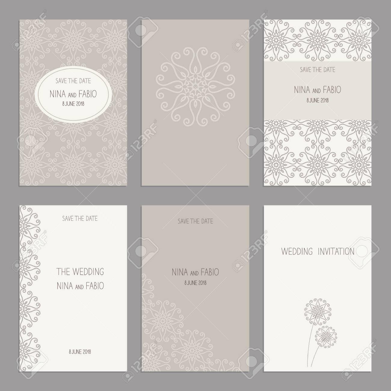Vector Set Von Vintage-Karten-Vorlagen. Hochzeitseinladung Postkarte ...