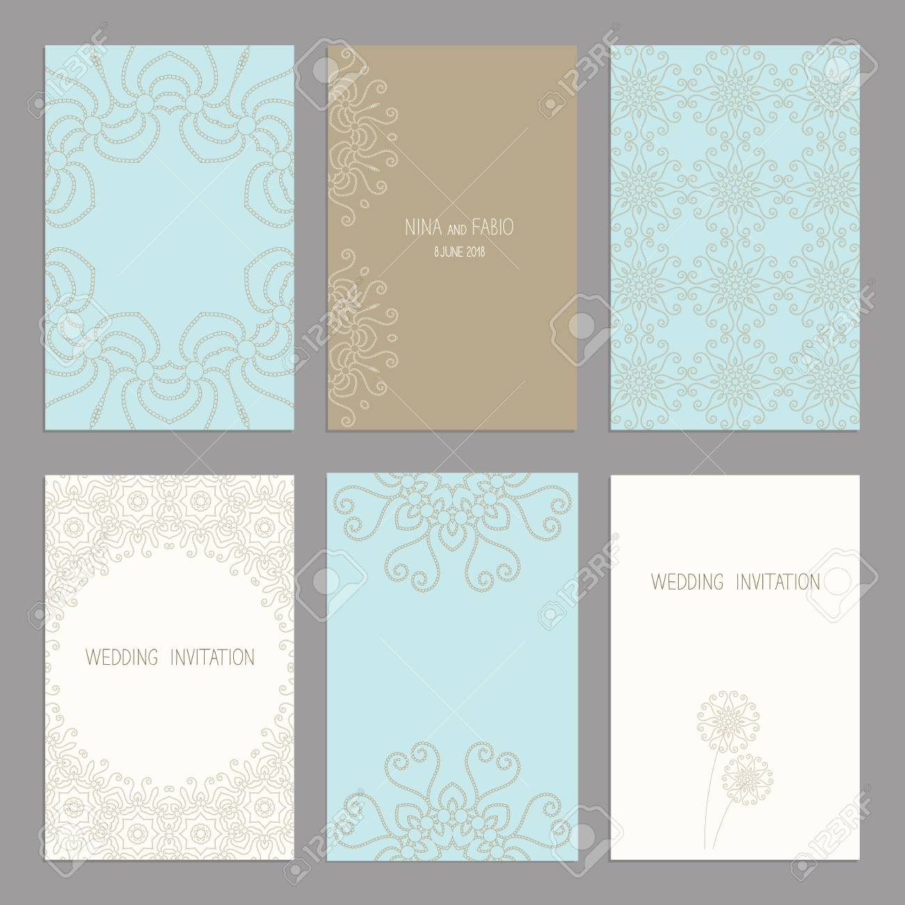 Vector Set Of Of Vintage Cards Templates Wedding Invitation ñ Ard Thank You Card Save The Date Cards Rsvp Card Original Design Of Wedding Cards