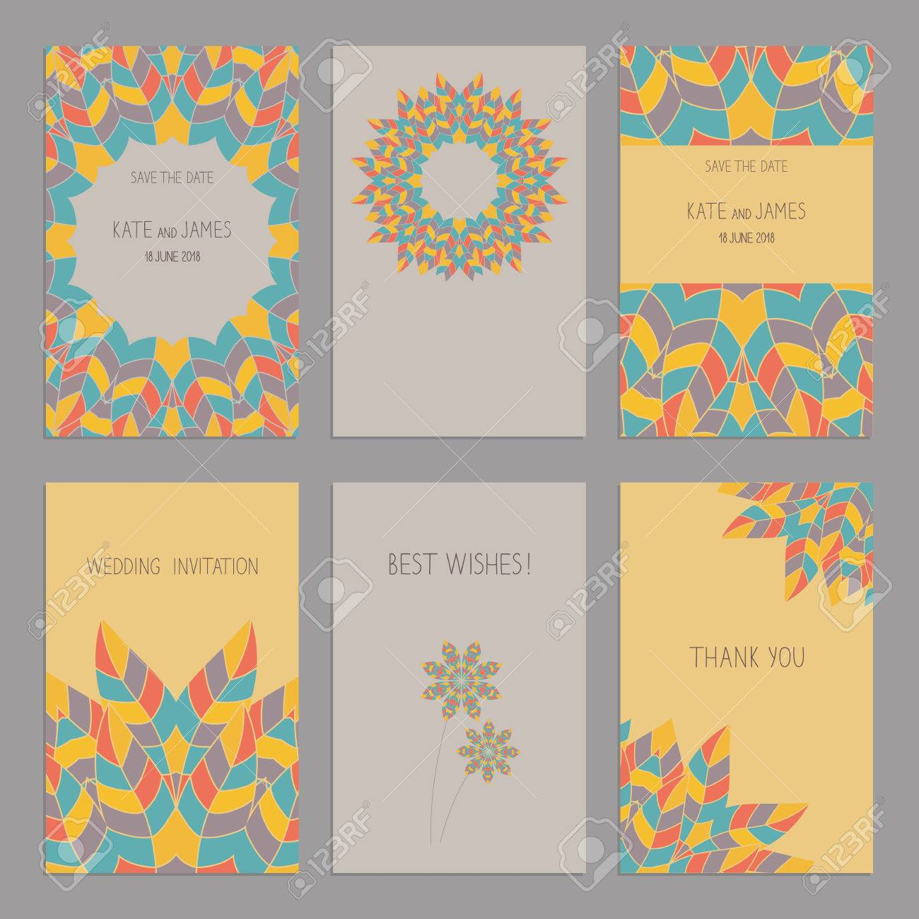 Vector Set Of Of Vintage Cards Templates In Ethnic American Indian Style Wedding Invitation ñ Ard Thank You Card Save The Date Cards Rsvp Card