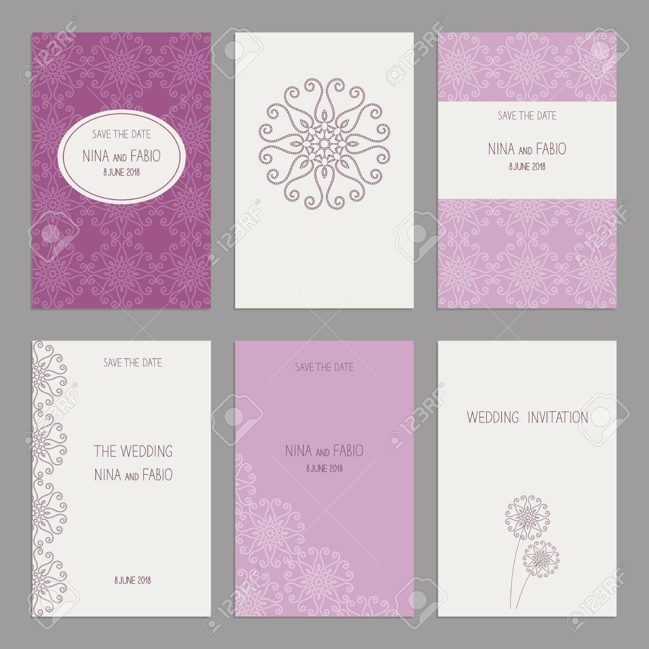 Vector Set Of Of Vintage Cards Templates Wedding Invitation