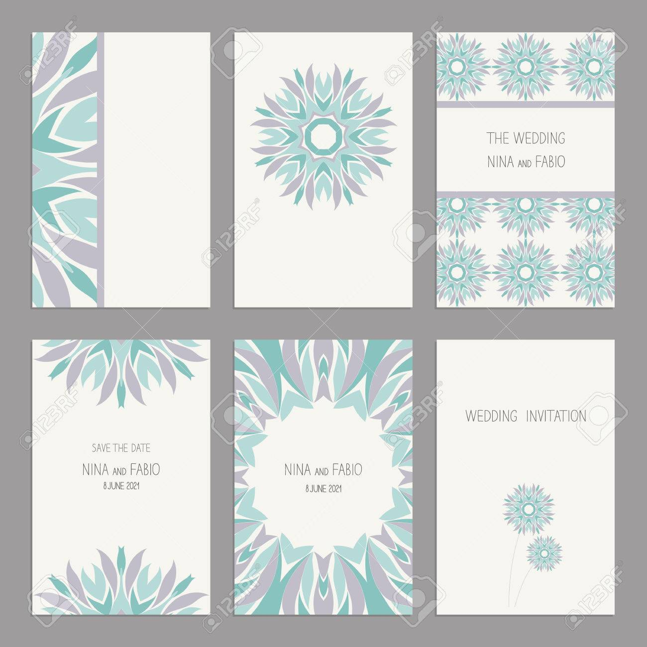 Set Of Vintage Cards Templates With Floral Motifs. Wedding ...