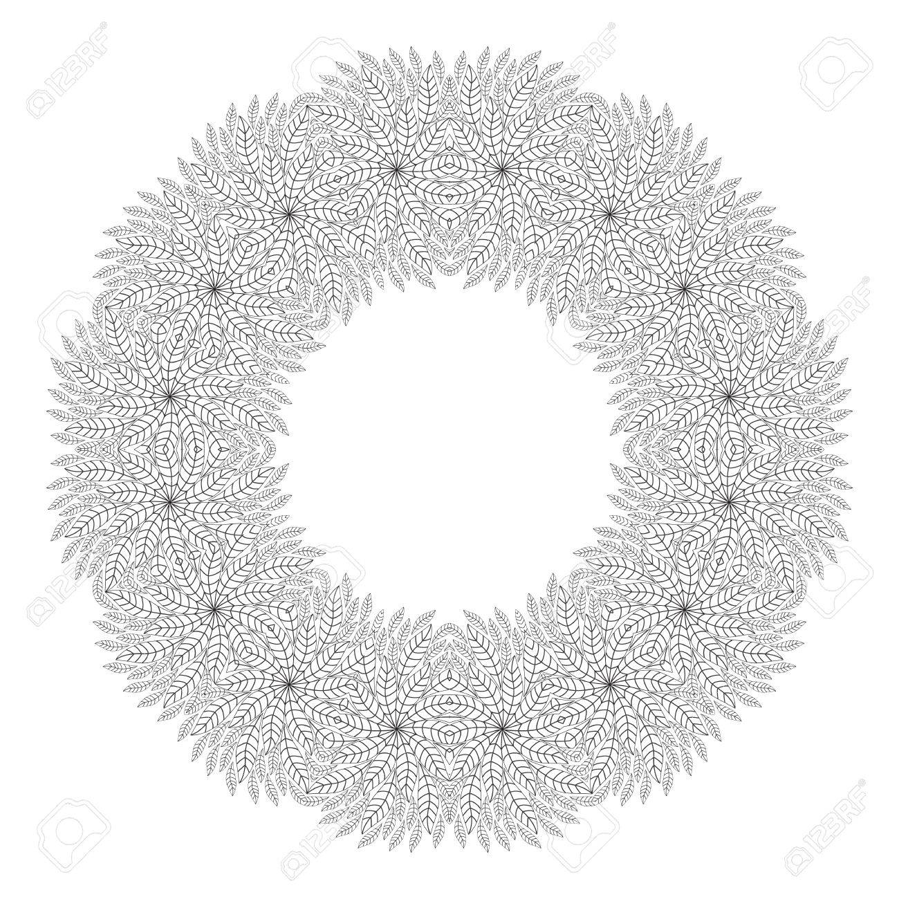 Christmas Wreath Coloring Page Ethnicity Floral Round Ornament Circular In