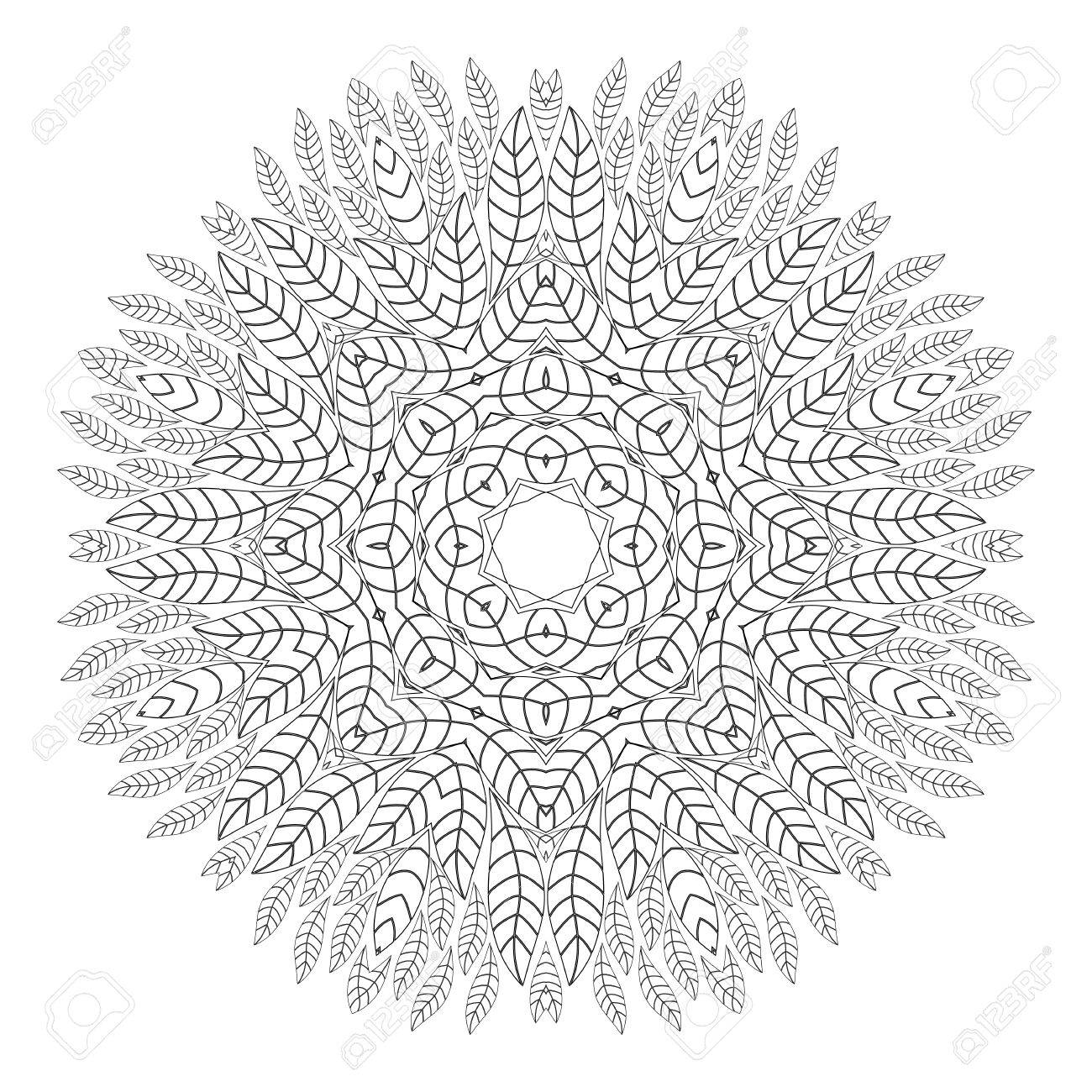 Mandala Antistress Coloring Pages For Adults Monochrome Circular