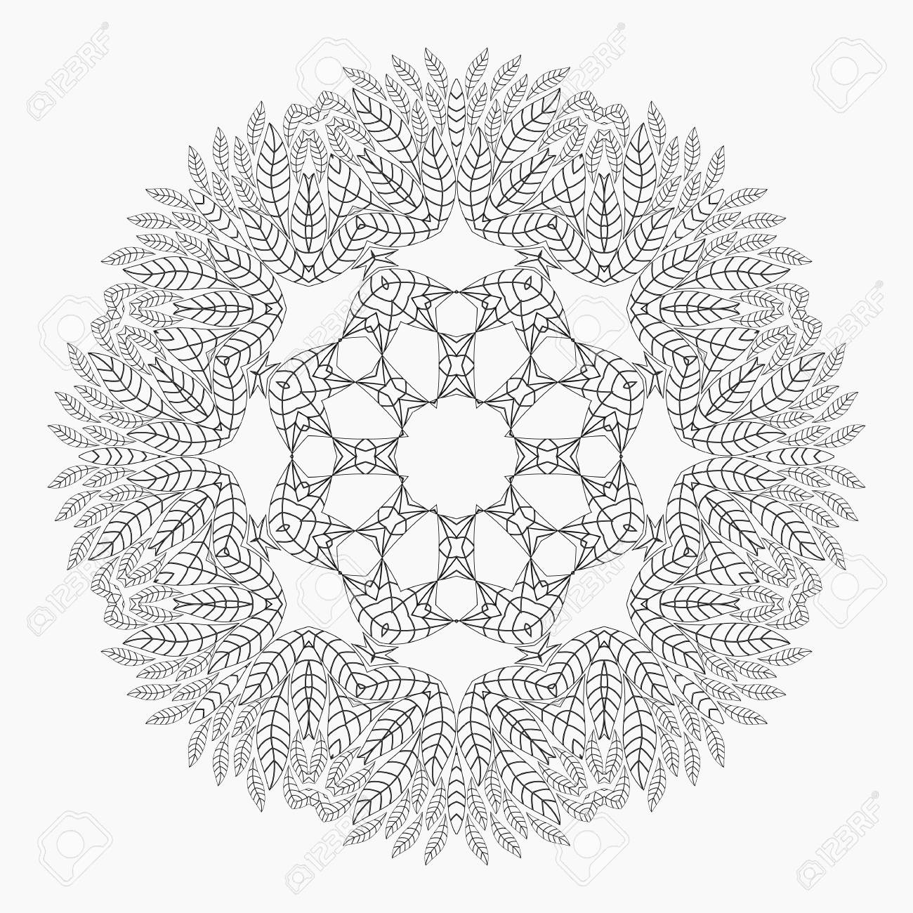 Antistress Coloring Pages For Adults Monochrome Circular Lace