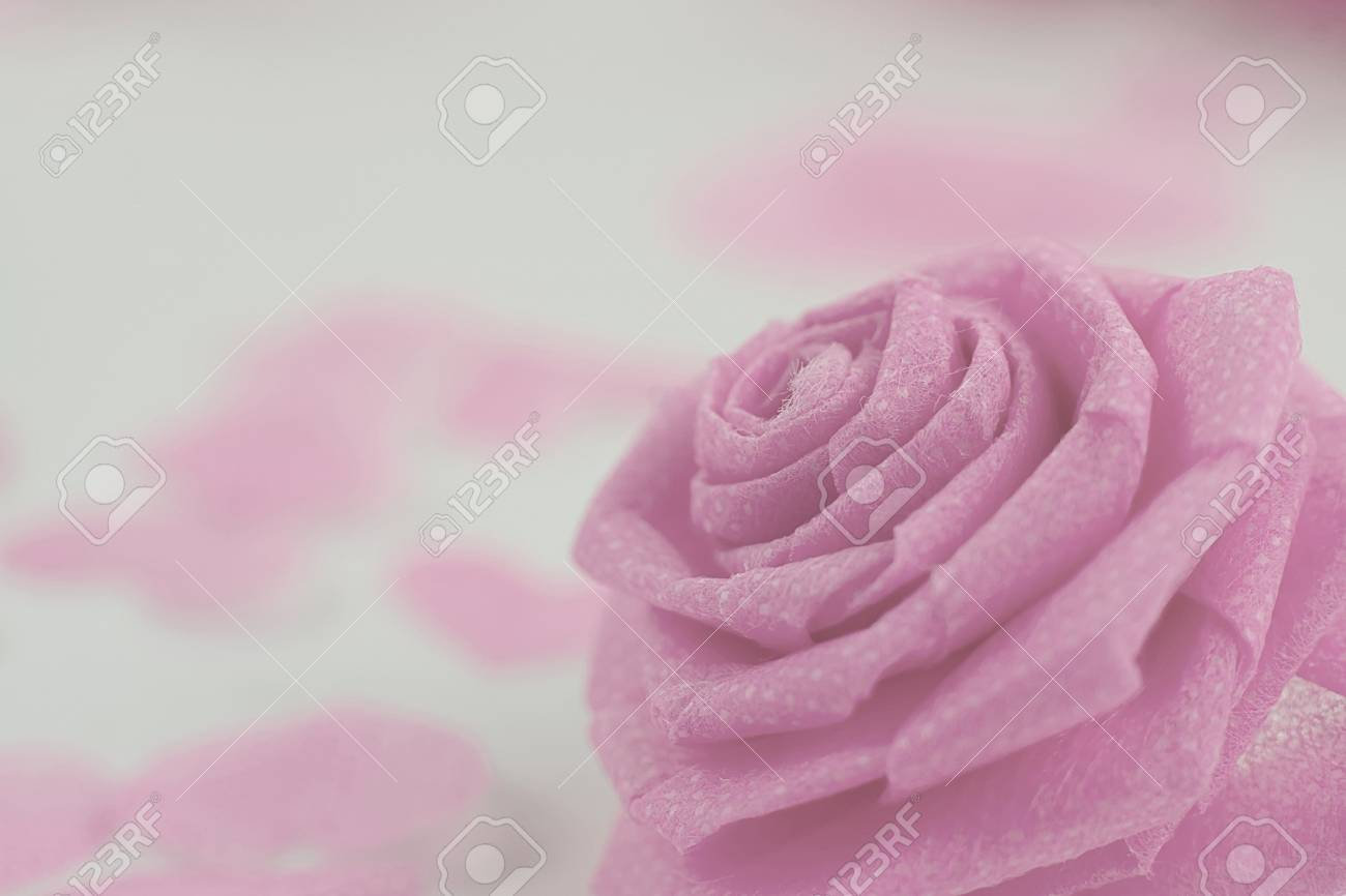 Pink Rose Fabric Flower And Small Hart On White Background For