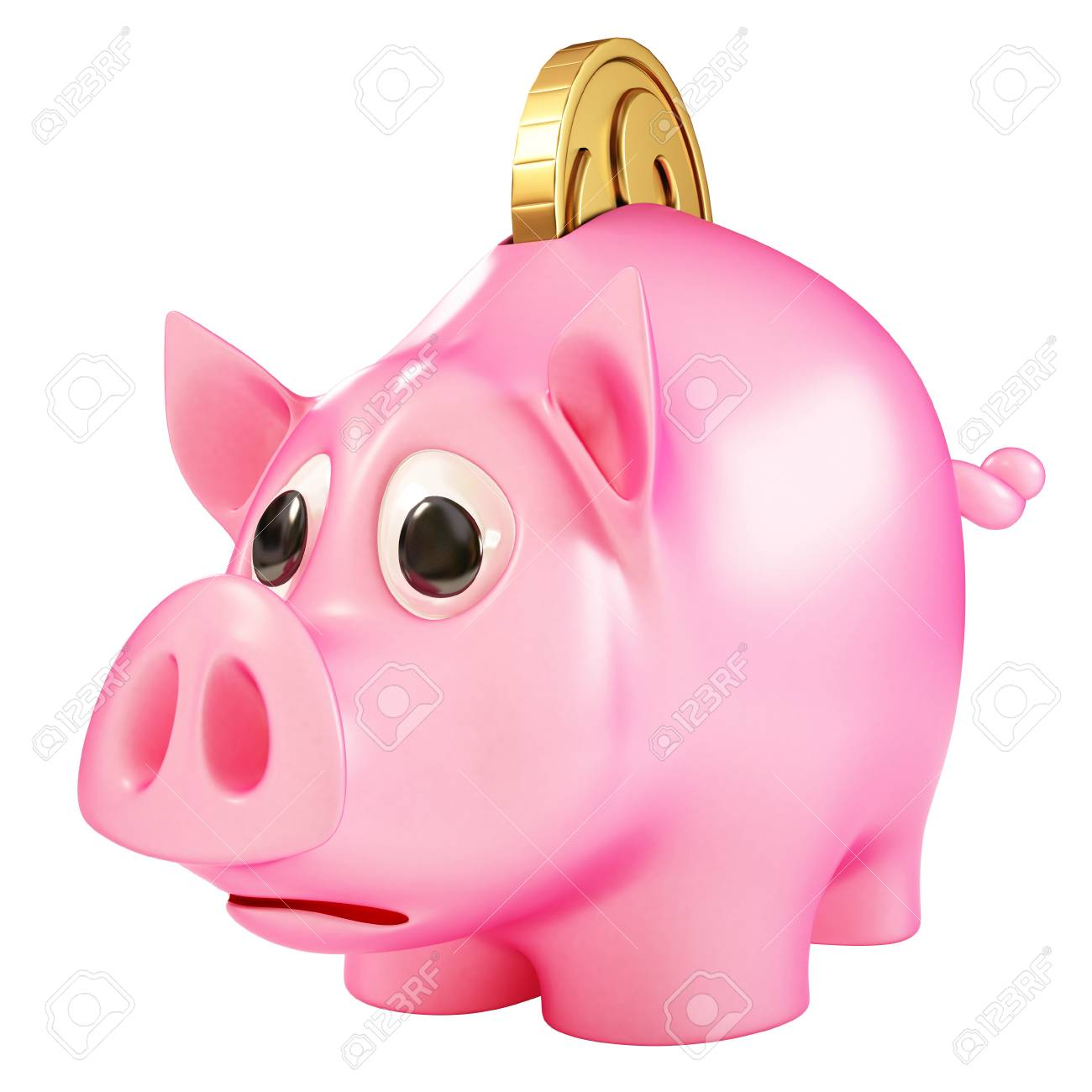 a piggy bank with a coin going into it. Stock Photo - 9651345
