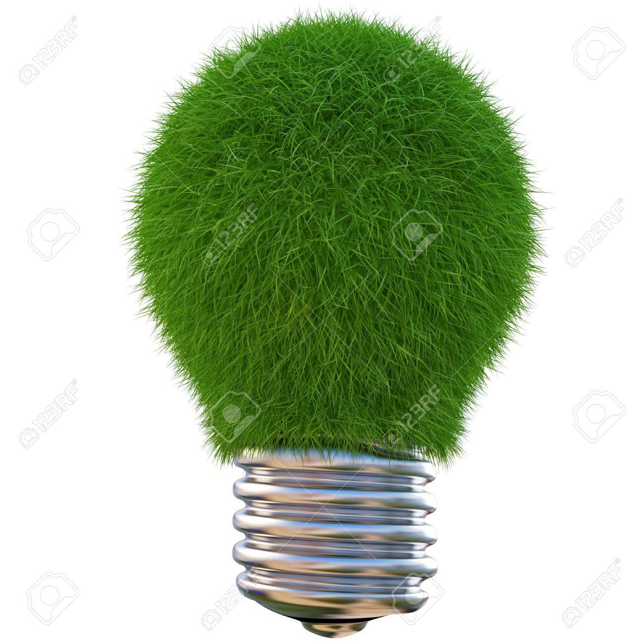 lightbulb made of green grass. isolated on white Stock Photo - 9818876