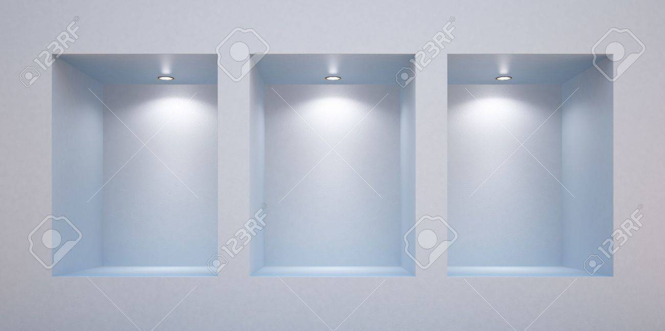 Empty shelves in a wall-honored spotlights Stock Photo - 9827063