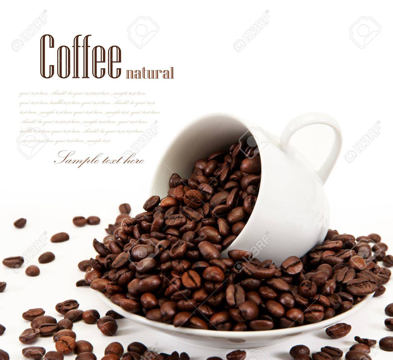 cup with coffee beans isolated on white background Stock Photo - 10628508