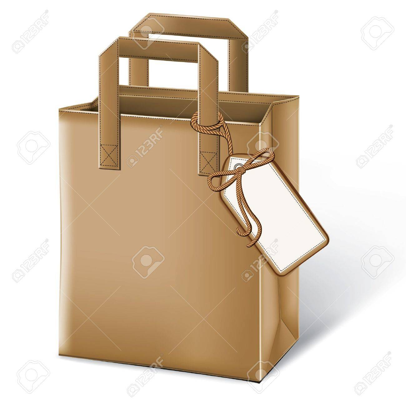 Paper bag vector - Paper Bag With A Label Stock Vector 10993428