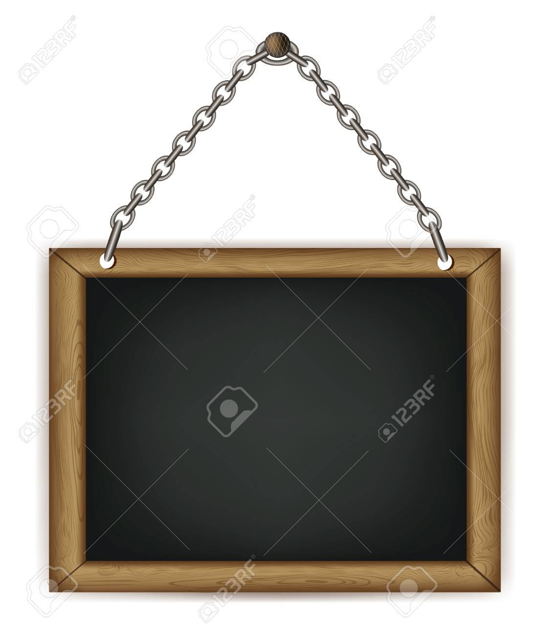 wooden sign on the chains. vector Stock Vector - 11100949