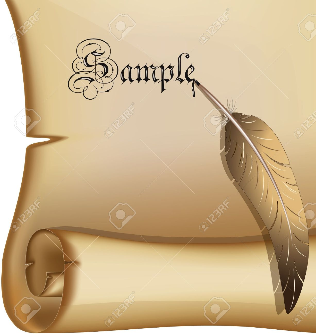 Old scroll with a feathereps10 Stock Vector - 11100948
